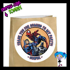 Superhero Birthday Party Favor Goody Bag STICKERS - Personalized Loot Bag Labels