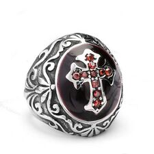 Biker Vintage Celtic Cross Red Black Silver Mens Stainless Steel Ring Size 7-13