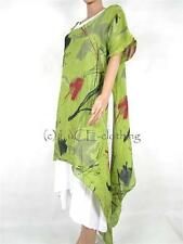 NEW Italian Lagenlook Oversize Quirky Print Linen Split Hem Tunic Dress Set