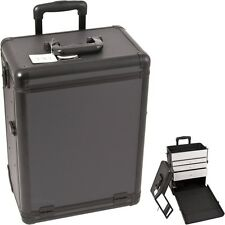 Pro Aluminum Rolling Artist Cosmetic Makeup Train Drawer Case - All Black Dot