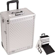 Pro Aluminum Rolling Artist Cosmetic Makeup Train Drawer Case - Silver Diamond