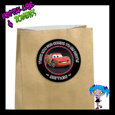 Disney CARS Party Favor Goody Bag STICKERS - Personalized Loot Bag Labels