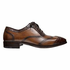 Mezlan Munich Men's Crocodile Leather Wing Tip Oxford Shoes Made In Spain Brown