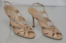 $935 New Manolo Blahnik Nude Beige Leather BB Heels Strappy Sandals Shoes 40.5