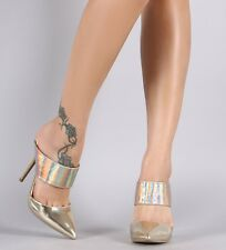 Gold Hologram High Heel Mule Slide Pointed Toe Stiletto Pump Womens Shoes