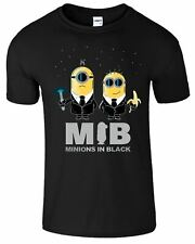 Minions In Black Funny Despicable Me Movie Top Tee Gift Mens T-Shirt