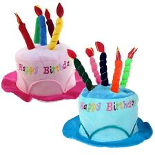 HAPPY BIRTHDAY NOVELTY PLUSH CAKE HATS WITH CANDLES PARTY HAT CAP Adult Kids NEW
