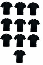 10 X Fruit Of The Loom Valueweight Plain Black Cotton Tee T-Shirts Wholesale Lot