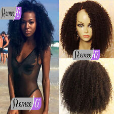 """12""""-24"""" 100% Brazilian Human Hair Afro Kinky Curl Lace Front Full Wig Baby Hair"""