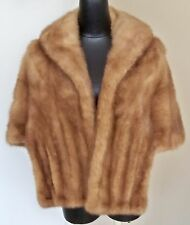 VINTAGE ALADINO OF CALIFORNIA LIGHT BROWN MINK STOLE CAPE SHAWL POCKETS LINED