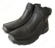 New MENS ANKLE BOOTS ZIPPERED COMFORT CASUAL FULL FAUX FUR SHOES PULL ON / BLACK