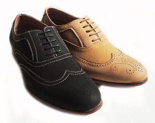 NEW FASHION MENS LACE UP WINGTIP OXFORDS CLASSIC LEATHER LINED DRESS SHOE/2COLOR