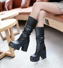 2016 Womens Punk Goth Mid Calf Boots Platform Ruched Shoes Chunky High Heels Hot