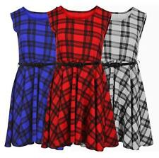 Ladies Sleeveless Belted Scoop Neck Flared Tartan Check Skater Swing Dress