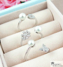 925 Sterling Silver Size Adjustable Fresh Water Pearl Ring , Size 6-9