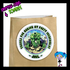 Incredible HULK Birthday Party Favor Goody Bag STICKERS - Personalized Loot Bag