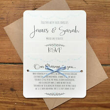 Vintage Shabby Chic Personalised Wedding Invite Day/Evening/RSVP/Menu Blue Card