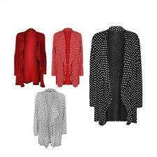 New Ladies Polka Dot Long Sleeve Spot Print Open Front Cardigan Plus SizeTop
