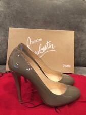 Christian Louboutin RON RON 100 Patent Calf Leather Heels Pumps Shoes Grey $575