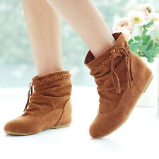 Spring Womens Platform Suede Leather Boots Snow Ankle Booties Tassel Flat Shoes