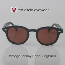 Retro Vintage Johnny sunglasses acetate black frame tint brown lens men eyewear