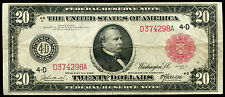 FR 955b 1914 $20 LARGE SIZE RED SEAL FRN FEDERAL RESERVE NOTE VERY FINE