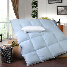 Solid Blue 600TC Cotton Cover Goose Down Comforter, 1PC Feather Pillow