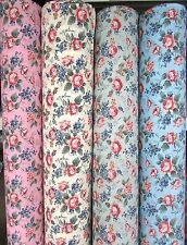 Floral PolyCotton Fabric Vintage Traditional Roses Floral - Blue Pink Sage Cream
