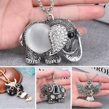 Women Crystal Retro Pendant Necklace Long Sweater Chain Jewelry Owl/Elephant New