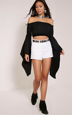PrettyLittleThing Womens Ladies Shelby White High Waisted Denim Casual Shorts
