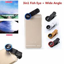 3in1 Fish Eye + Wide Angle Micro Lens Camera Kit for iPhone Samsung s7 edge S7