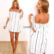 New Sexy Women Off-Shoulder Striped Mini Dress Evening Party Beach Dresses LM