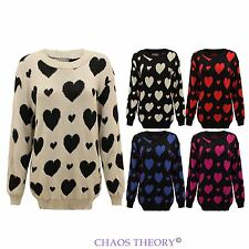 Ladies Womens Knitted Hearts Print Winter Jumper Sweater Top Plus Sizes 16-26