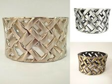 "11/8"" Wide Basket Weave Texture Hinged Silver-Tone/Rhodium Tone Bangle Bracelet"