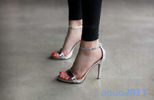 Ankle Strap Patent Leather Stilettos High Heel Open Toe Womens Party Shoes Size