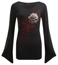 Spiral Direct WHITE ROSE, V Neck Goth Sleeve Top Black|Roses|Blood|Gothic