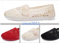 Summer Flats Hollow Out Womens Canvas Lace Mesh Slip On Loafers Sandals Shoes Sz