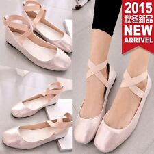 New Women Cross Strap COmfort Casual Mary Jane Ankle Strap Ballet Flat Shoes #04