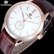 FORSINING Mechanical Auto Mens Military Sport Wrist Watch Leather Band Xmas Gift