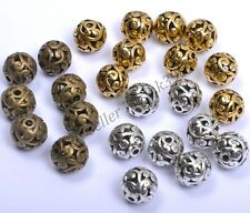 Wholesale Round Metal Carved Hollow Tibetan Silver Loose Spacer Beads 11MM