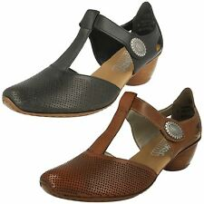 RIEKER 43730 LADIES CLOSED TOE T-BAR LEATHER MID HEEL SMART CASUAL SHOES