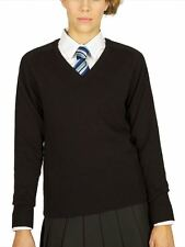 Trutex Girls Fit Cotton V-Neck School Jumper in 7 colours, age 2-3 to 2XL