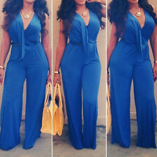 Women Casual Halter Sexy Dress V Neck jumpsuits Fashion Full Length Rompers