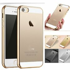 Ultra Thin Clear Soft Chrome Plate Silicone Back Case Cover Skin for iPhone 5 SE