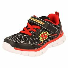 Skechers Synergy 'Mini Dash' Black/Red Textile Memory Foam Washable Trainers