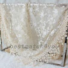Lightweight Triangle Embroidered Scarf Tassel Lace Floral Mantilla Shawl Wrap