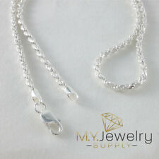 "925 Sterling Silver Diamond Cut Rope Chain Necklace Italy 2.7mm 18"" 20"" 24"" 30"""