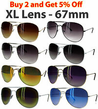 XL LENS 67mm CLASSIC AVIATOR COP STYLE METAL FRAME DARK MIRROR SUNGLASSES