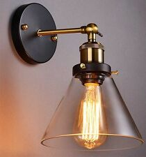 Modern Industrial Vintage Retro Rustic Sconce Brass Indoor Glass Wall Lamp Light