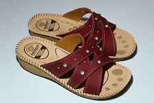 Ladies Womens Red Slip On Flat Open Toe Wedge Holiday Summer Sandals Mules